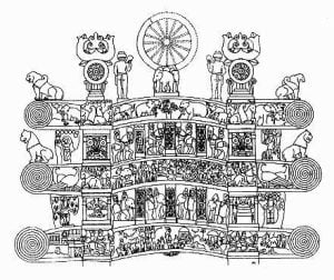 Detalle de la Torana a la entrada de la Stupa de Sanchi. Siglo I d.C