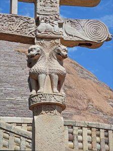 Detalles de la Torana de la Stupa de Sanchi